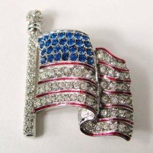 Swarovski American Flag Pin